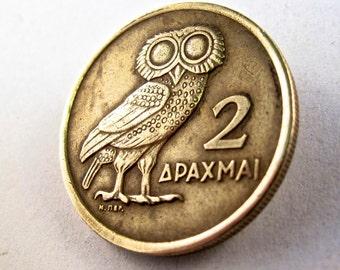 coin jewelry greece GREEK OWL brooch pin lucky drachma  No.00793 -3