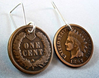 Vintage PENNY earrings. antique penny jewelry.  United States Indian Head.  Wheat Penny. USA jewelry gift No.00834