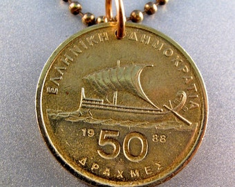 GREECE COIN NECKLACE  . Greek pendant. mens jewelry. 50 apaxmai drachma homer charm . sailing . boat   No.001051