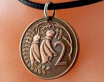 New Zealand necklace.  New Zealand charm. New Zealand flower jewelry. gardener gift. New Zealand coin .flower coin.kowhai flower No.001061