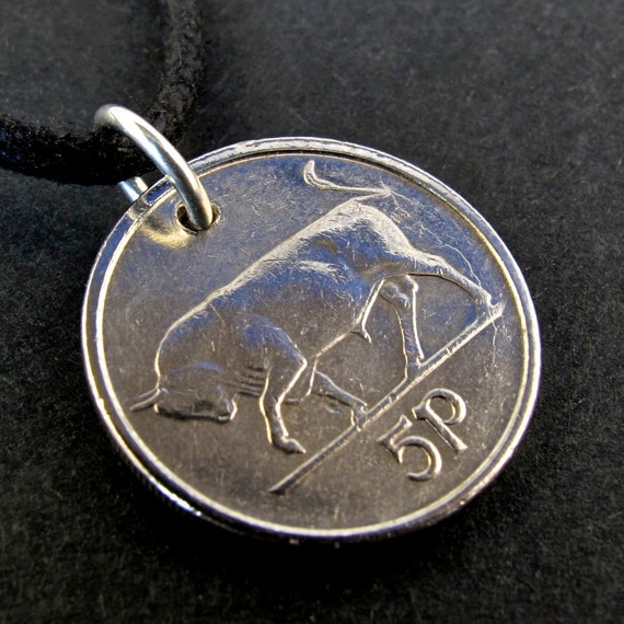 1994 5p coin necklace IRELAND IRISH Bull Pendant Charm with Sterling Silver 925  Jump Ring Bail NO.00420