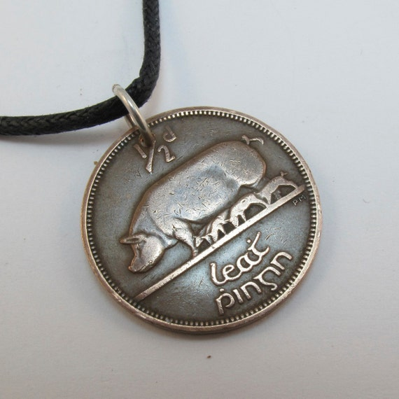 IRELAND  COIN Necklace  Pig Pendant eire sow celtic harp . gaelic  CHOOSE year personalize  No.00290-1