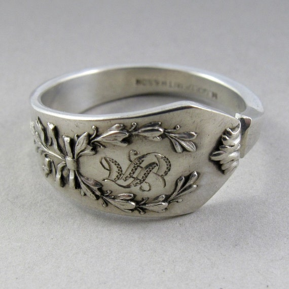 STERLING silver  SPOON ring size 10  S Monogram Birks handmade antique No.00639