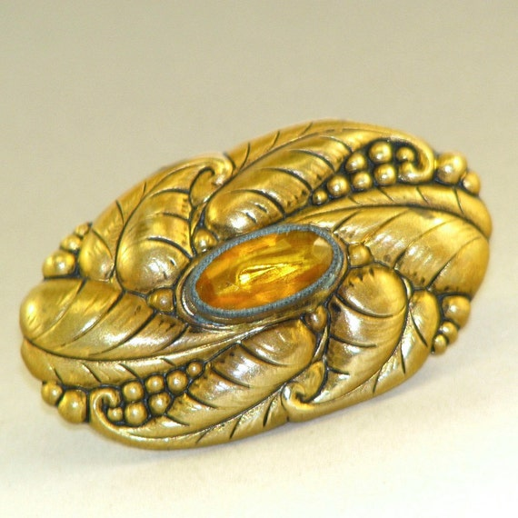 VINTAGE CZECH Brooch.  Czechoslovakia Brass Brooch . Costume Jewelry .  Faceted Amber Glass leaf Pin No.00645