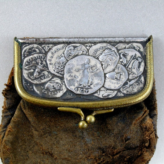 VICTORIAN CHANGE PURSE roman coin leather for your assemblage No.00701