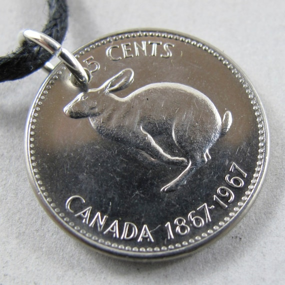 CANADIAN RABBIT coin NECKLACE pendant  hare easter bunny  nickel 1967  . Year of the Rabbit No.00765