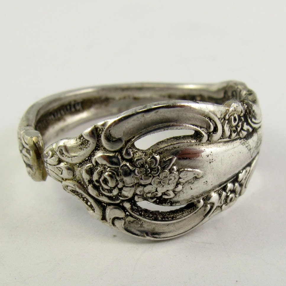 silver vintage spoon ring size 13 wine ornate by partsforyou