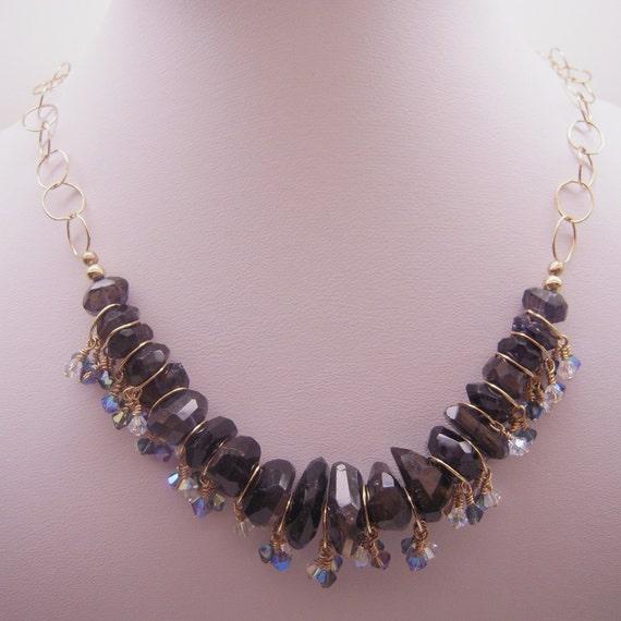 Beautiful Iolites With Sparkling Swarovski Crystals