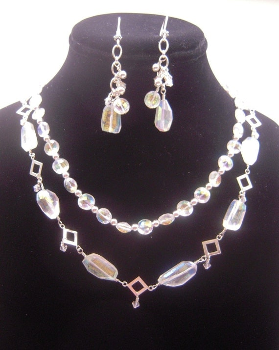 Iridescent Crystal Quartz Necklace and Earrings