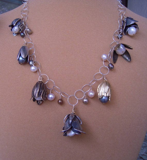 NEW - Mixed Metal Floral Bouquet Necklace with Cultured Freshwater Pearls
