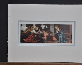 Annunciation, 1930s gorgeous religious art, vintage religious art work