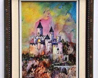 Rainbow retreat castle medieval art by Jerrilyn Emison original art