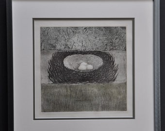 Nest Exposed by binford, signed and numbered limited edition, bird nest, eggs, art