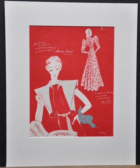 French Ladies art, vintage print ad 1930s pair, set of two