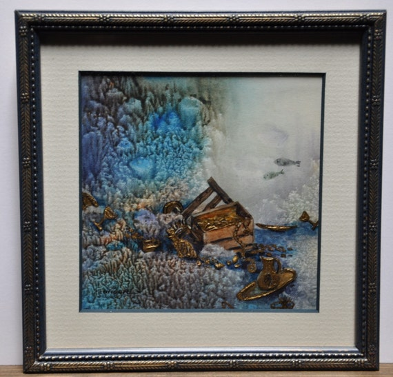 Treasure, under the sea art, original art work by jerrilyn emison, Miniature with 24ct gold