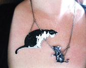 Cat Black and White with Mouse Necklace Image Jewelry