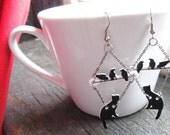 Dangle Jewelry Earrings Lucky Black Cat and Black Birds Silhouette art