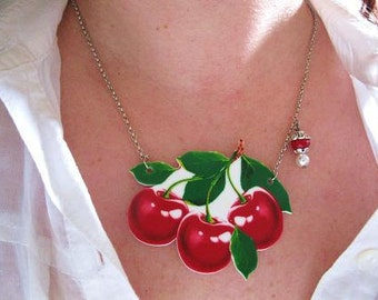 Cherry Print Women's Blossom Red 50s inspired Sweet Rockabilly Summer Acrylic Necklace Fruit Trending