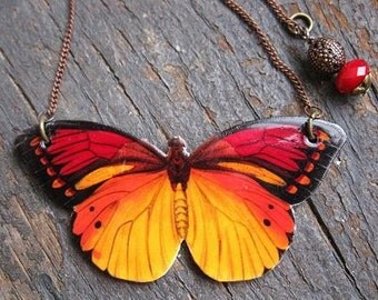Butterfly Monarch Statement Necklace Woman Yellow and Red Pendant Nature Woodland