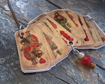 Old Hungarian Playing Cards Pendant Necklace
