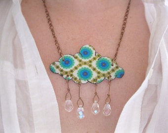 Cloud Shaped Rain Drops Emerald Green and Teal Blue Gift for Gardener Garden Showers Necklace Crystal Raindrops Flower