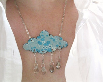Cloud Shaped Powder Sky Blue Rain Shower Necklace Floral Pastel Fashion and Crystal Raindrops Flowers