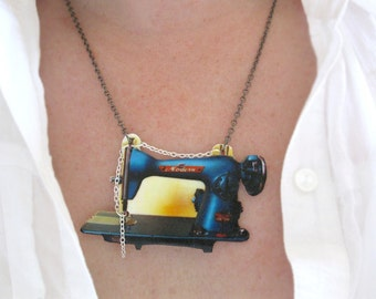 Crafter Gift Sewing Machine Necklace Gift for The Crafty Seamstress Gift for her Etsy Christmas Ideas Stocking Stuffer for Her Acrylic
