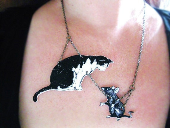 Cat Black and White with Mouse Necklace Image Jewelry Animal Pet Unique Jewellery Fun Meow Pussy Cat