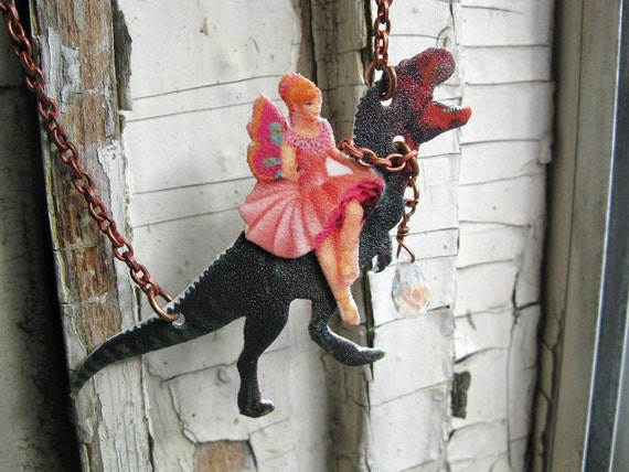 Fairy and Dinsaur Necklace Etsy Geekery Gifts Dinosaur T-Rex Fantasy with Image Art Gift for Her Quirky Fun Jewellery Unique Finds