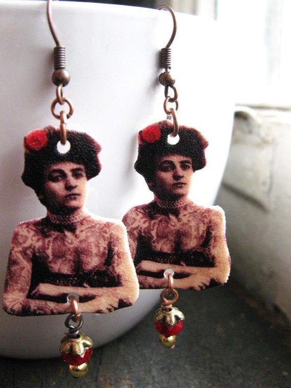 Dangle Earrings Edgy Vintage Inspired Rose The Tattooed Circus Lady Carnival Gypsy Image