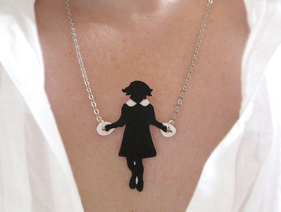 Woman Black White Necklace Little Girl Skipping Black Silhouette Jumping Rope Unique Fun