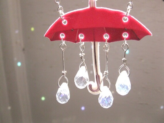 Umbrella Statement Necklace Rain Drops Women Jewelry Rain Showers Pink with Crystal Raindrops