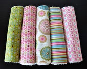 Baby Burp Cloths, Set of 5, Riley Blake's Penny Lane and Vanilla Chenille LAST SET