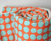Baby Blanket, Sun Spots in Tangerine by Amy Butler and Vanilla Bubble Dot Minky