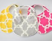 Baby Bibs, Set of 3, Tarika and White Bubble Dot Minky, LIMITED AVAILABILITY