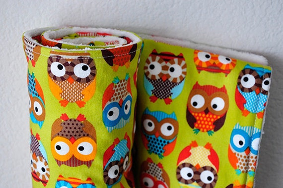 Owl Baby Blanket, Bright Owls in Lime by Alice Kennedy and White Bubble Dot Minky, LAST ONE