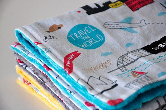 Baby Burp Cloths, Set of 3, Travel the World and Bubble Dot Minky