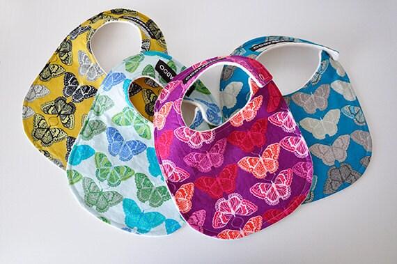 Baby Bibs, Set of 4, Butterflies and Organic Cotton Sherpa