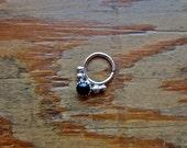 Anima :  Septum jewelry .. aprilsblissed .. septum .. gold nose ring .. nostril ring .. daith .. tragus .. onyx