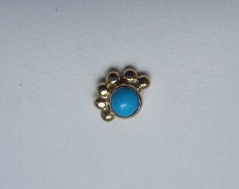 Pollen : Gold Nose Ring .. Nose Stud .. 14K Gold .. Turquoise Nose Screw .. Aprilsblissed .. Nosebling