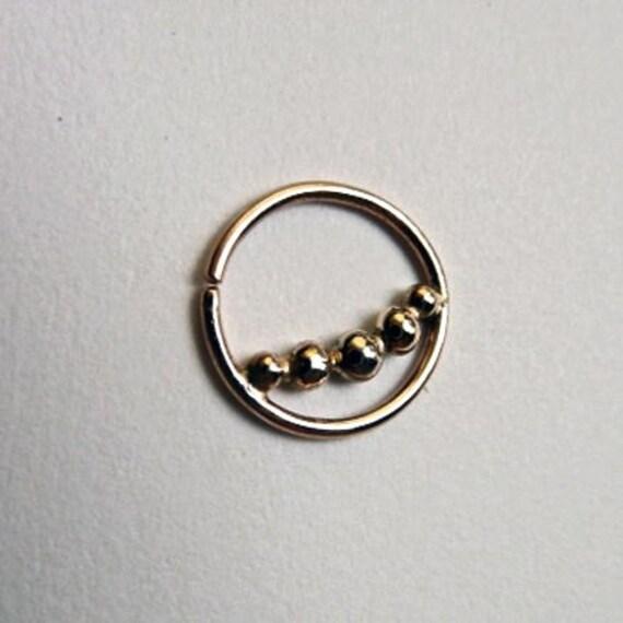 Dew Drops : Gold Nose Ring .. Septum Jewelry .. 14k gold nose hoop .. Aprilsblissed . Nosebling .. Tribal Nose Adornment