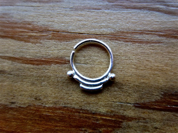 Indigenous (.999 silver) : Nose Ring .. Septum Jewelry .. Silver Hoop .. Aprilsblissed Nosebling .. Nose Piercing