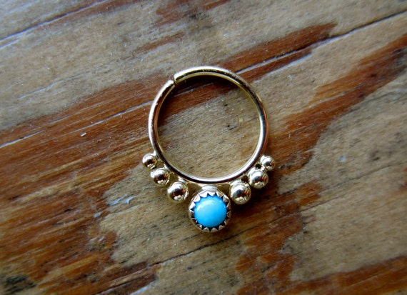 Alpha (Gold/Serrated Bezel) : Gold Nose Ring .. Septum Jewelry .. Turquoise Nose Hoop .. Aprilsblessed .. Nosebling .. Tribal Nose Adornment
