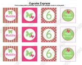 DIY Butterfly Birthday Printable Cupcake Toppers hot pink lime green