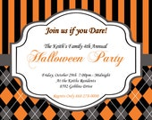 SALE 20 printed Invitations & envelopes Halloween Elegant 2 Party  Invitation 5x7 Orange  black