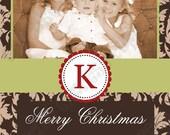 DIY  Holiday Christmas  PRINTABLE Photo Card brown green damask Holiday Greeting 5x7 4x6 Elegant