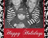 DIY  Holiday Christmas  PRINTABLE Photo Card black white red damask Holiday Greeting 5x7 4x6 damask