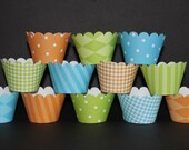 Blue Orange Lime green Cupcake Wrappers holder wrap matches Dinosaur  Birthday  - Cupcake Express