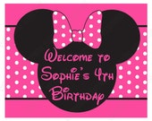 DIY Minnie Mouse Birthday Party  PRINTABLE Welcome Sign door Pink black
