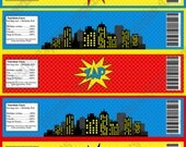 Super Hero, water bottle labels,  Birthday Printable Party, avengers, superman, blue red yellow city towers INSTANT DOWNLOAD diy